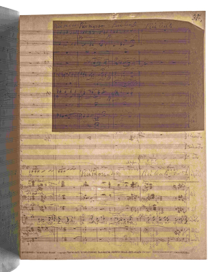 Page 35 from Elgar's score of The Dream of Gerontius with the transmitted light technique