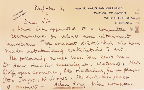 Letter from Ralph Vaughan Williams to Leslie Boosey, 31 October 1940