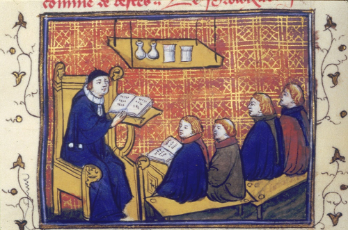 Monks studying texts