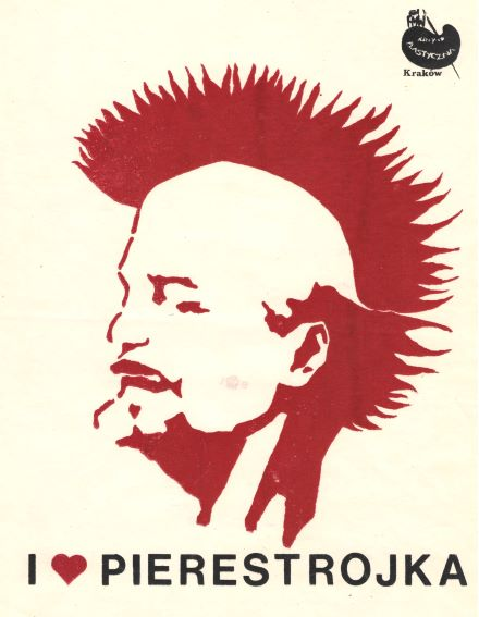 Lenin with Mohawk punk graffiti