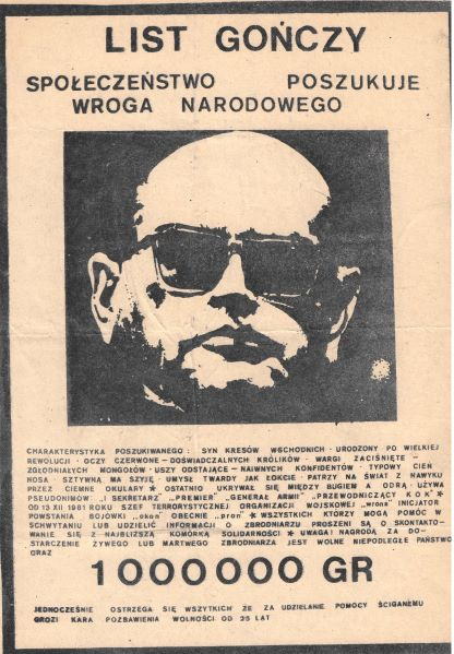 A mock 'wanted' poster for General Wojciech Jaruzelski