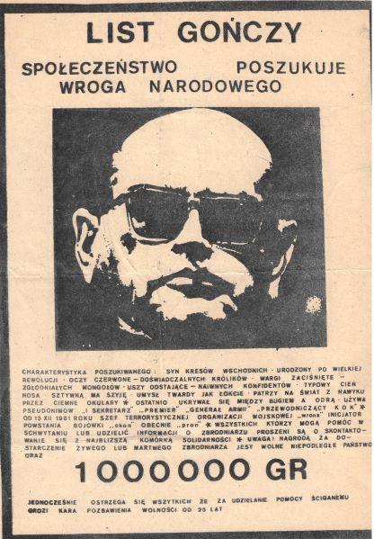 A mock 'wanted' poster for General Wojciech Jaruzelski