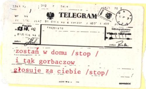 A sticker styled after a telegram