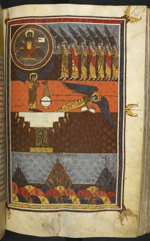 Two tiered manuscript illumination: Christ enthroned and the seven angels with trumpets (above); an angel with a censer (below)