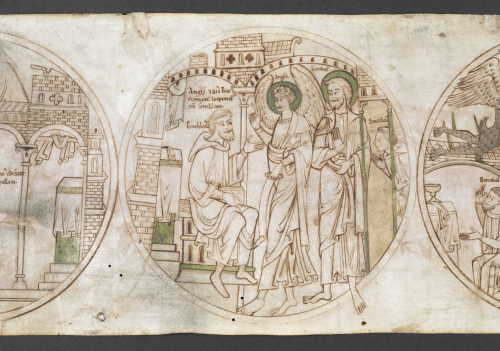 An angel and St Bartholomew speaking to St Guthlac