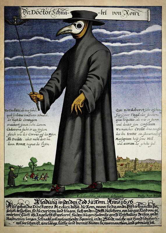 Coloured copper engraving by Paul Fürst depicting a plague doctor wearing a mask- 'Doctor Beak from Rome'