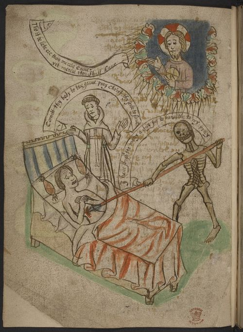 An illustration in a medieval manuscript of a man, lying in bed, being speared by the figure of Death, accompanied by a monk and Christ