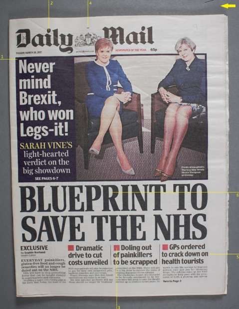 Controversial front page of the Daily Mirror on Tuesday 28th March 2017 showing Theresa May and Nicola Sturgeon. The headline reads 'Never mind Brexit, who won Legs-it!' This image has been labelled with yellow lines and numbers showing where colour measurements were taken.