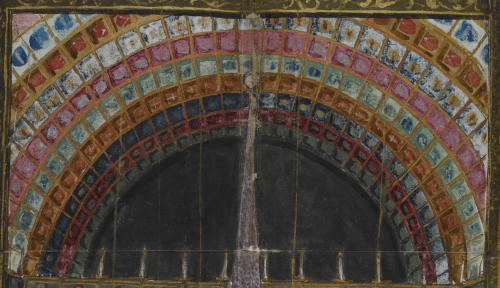 A detail from a watercolour illustration of the staging of Papon's Pastorelle, depicting the heraldic ceiling of the Salle de La Diana in Montbrison.