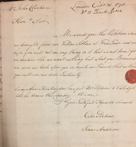 Letter from Cato Perkins and Isaac Anderson to John Clarkson  30 October 1793