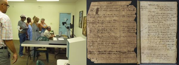 An image of the digitisation process and two digitised manuscript pages