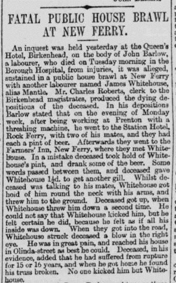 Report of the fatal pub brawl at New Ferry - Liverpool Mercury 2 January 1885