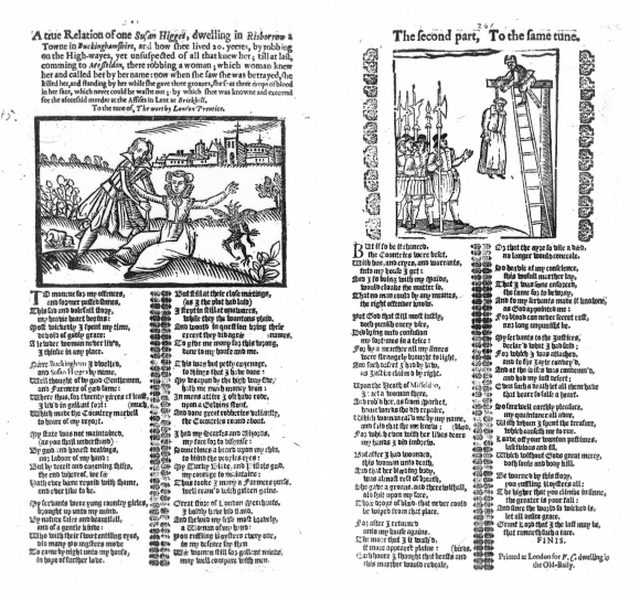 Ballad entitled A True Relation of One Susan Higges with illustrations of her robbing whilst dressed as a man, and being hanged.