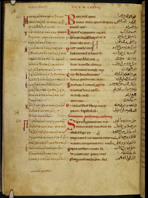 Greek-Latin-Arabic Psalter. Harley Ms 5786 f.159v