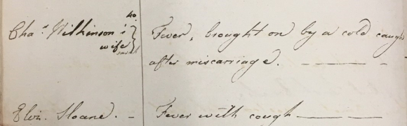 Entry for Sarah Wilkinson in Dr Taylor's medical notes