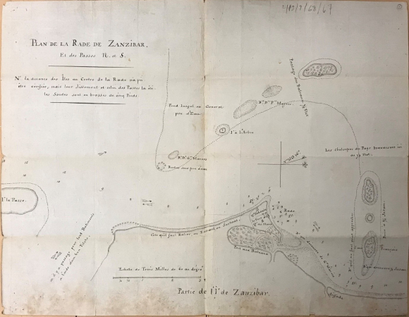 Map of the routes of navigation at the port of Zanzibar, part of Jean Robbio's captured papers