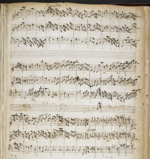 Autograph manuscript of Henry Purcell's Sonata in F major (Z. 810).                          BL Add MS 30930, f. 37v