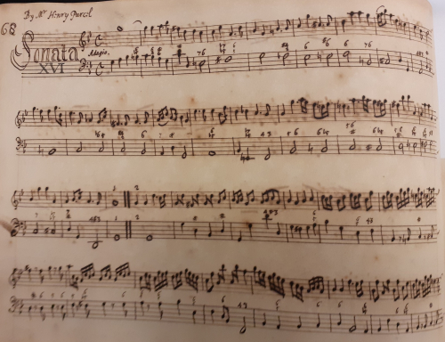 Manuscript of Purcell's sonata in G