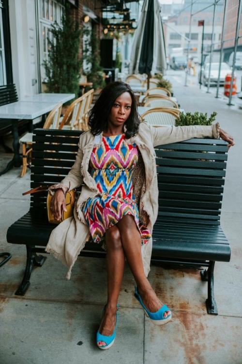 Stephanie on a bench