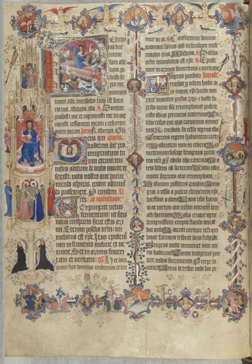 The richly decorated page for Easter Sunday in the Sherborne Missal