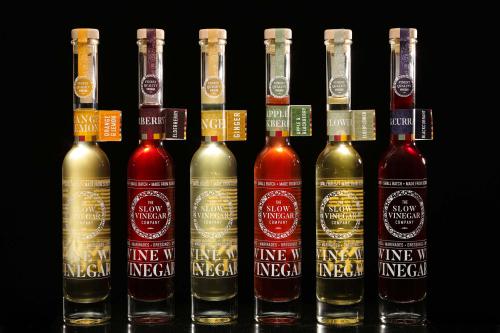 Row of vinegar bottles