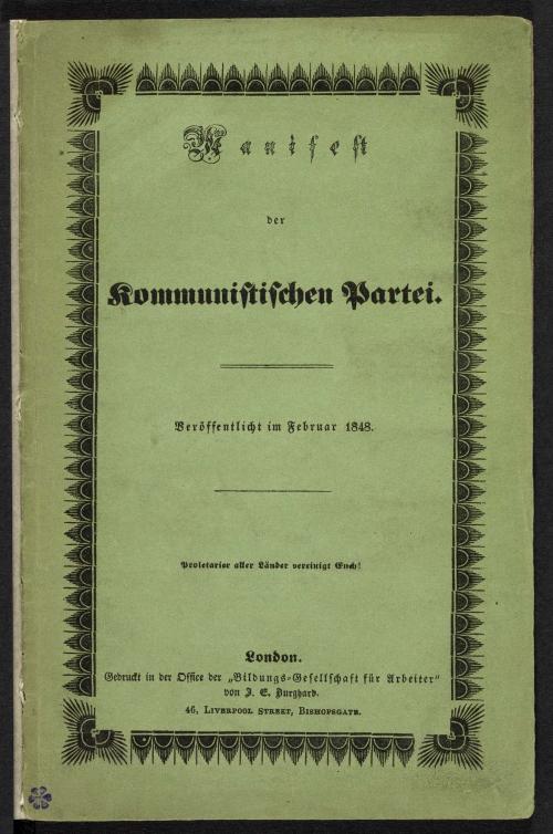 Green paper cover of 'Manifest der Kommunistischen Partei'