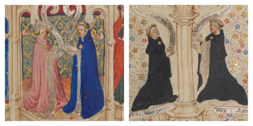 Details of portraits of the patrons and craftsmen of the Sherborne Missal