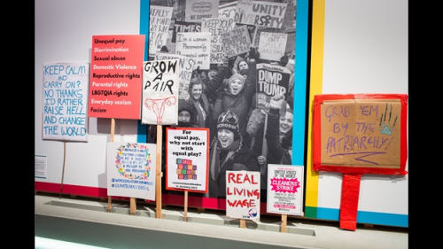 Placards supporting women's right's