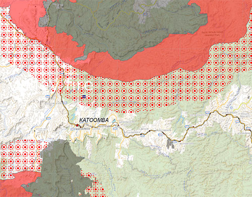 Detail of fire spread prediction map