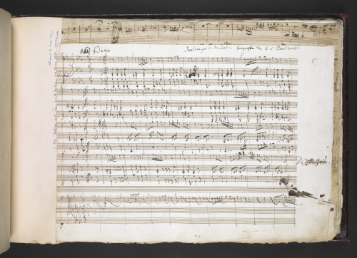 Folio 87r from the 'Kafka' sketch miscellany showing the opening of a sonata for mandolin and keyboard WoO 47.