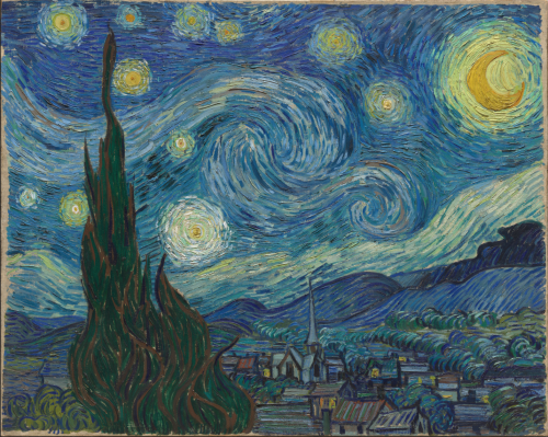 Image of one of Vincent Van Gogh's most famous paintings. It depicts the view of a starry night just before the sunrise. In the lower part of the painting, on the left, there is a tree in the foreground, and in the right part of the painting, a village. The sky and the stars are painted with large brushstrokes of colour in multiple shades of blue and yellow