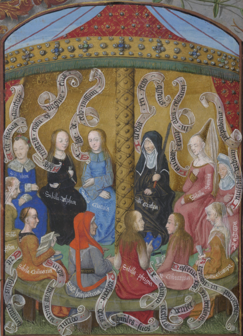 Twelve women with dresses in different colours sitting on a circular bench with a golden pillar in the middle. The women, who represent the Sibyls, prophesise the birth of Christ.