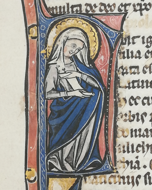 The Sibyl Tiburtina depicted as a woman with a white veil and a blue mantle unfurling a scroll.