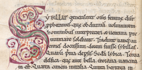 Another copy of The Prophecy of the Tenth Sibyl, opening with a large purple initial 'S' with decoration in blue, green, purple, and red inside the letter