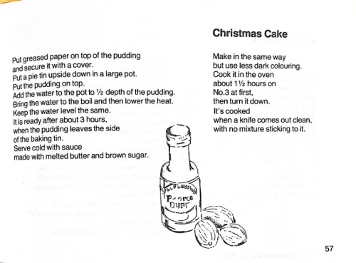 Recipe continued with an illustration of a small bottle of liquor and nutmegs.