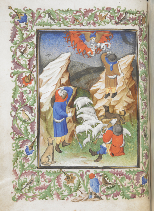 Illustration of shepherds from Egerton MS 1070 f032v