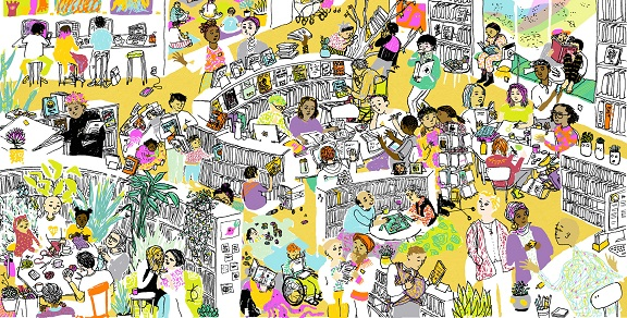 Hand drawn collage illustration of people using a public library