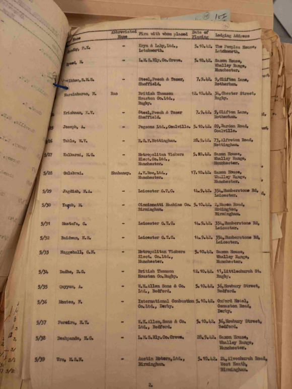 Example of a page from the India Office file showing the details recorded about the trainees