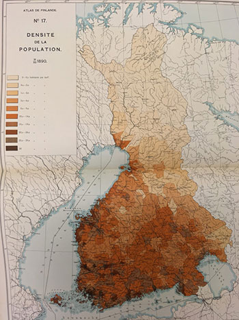 Atlas de Finlande, population density