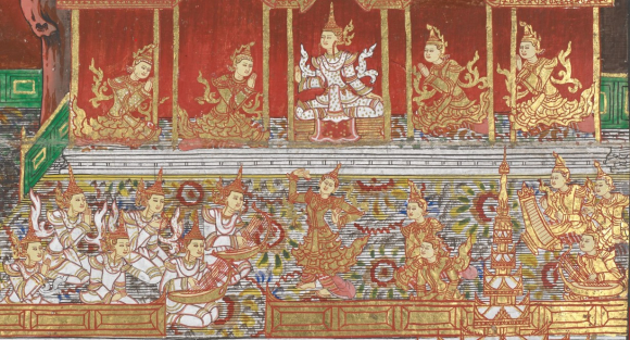 The ruler and the heavenly orchestras of the Tāvatiṃsa heaven.