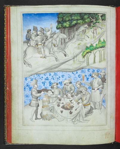 A manuscript image of a deer hunt using leopards and, below, a feast
