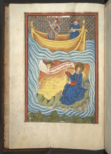 John, on the island of Patmos, being visited by an angel who tells him to write down his vision; two men row away in a boat