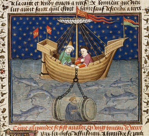 A manuscript image of Alexander being lowered into the sea in a cask