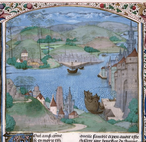 A manuscript image of an English landscape: a river scene with walled towns and ships