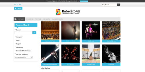 BabelScores homepage
