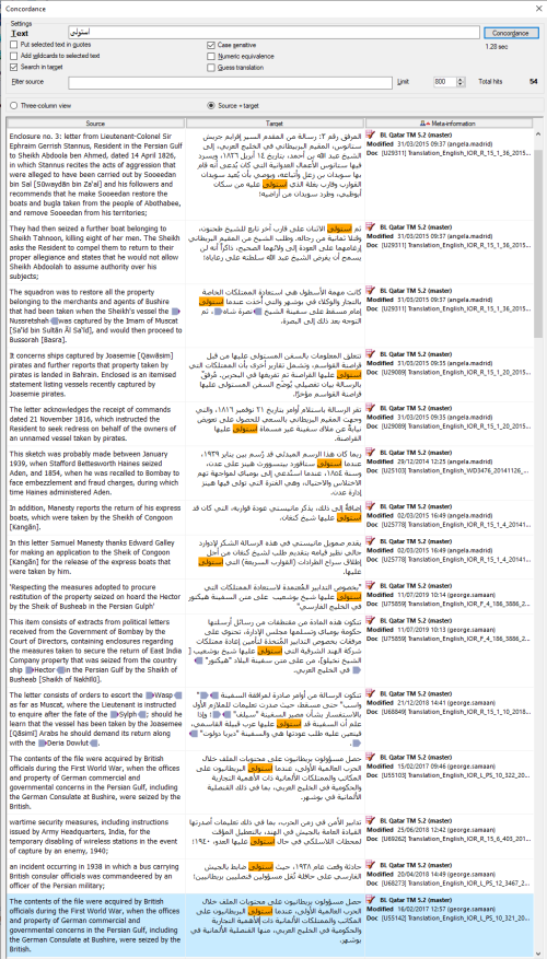 Search results from the BLQFP Translation Memory in memoQ for Arabic Verb Form X (istafʿala)