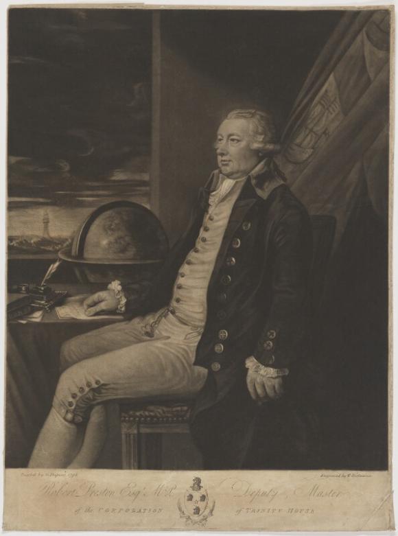 Portrait of Sir Robert Preston in uniform, seated next to a globe