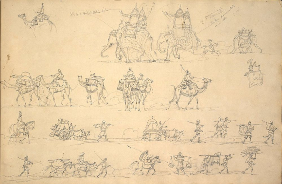 Sketches of a march with elephants, camels, horsemen and Indian servants