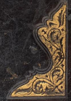 Detail of the stamped corner piece-Or 15877 binding motif corner