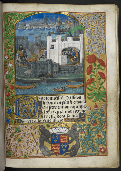 Miniature of Charles d'Orléans writing poetry in the Tower of London, with the Royal arms of England in the border below